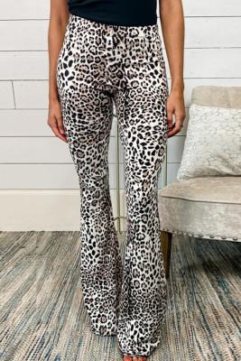 Casual High Waist Leopard Bell Bottom Pants