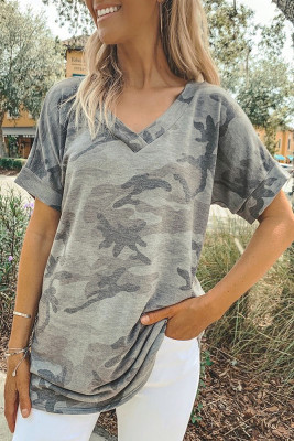 Camouflage V-Neck Short Sleeve T-shirt