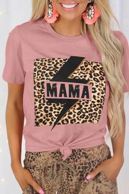 Pink MAMA Print Leopard Splicing Short Sleeve Tee