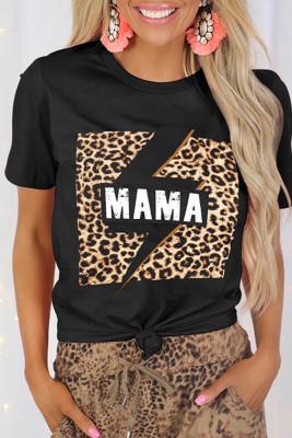Black MAMA Print Leopard Splicing Short Sleeve Tee