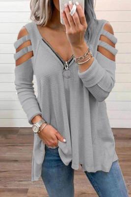Gray Zipper V-Neck Hollow Out Long Sleeve Top
