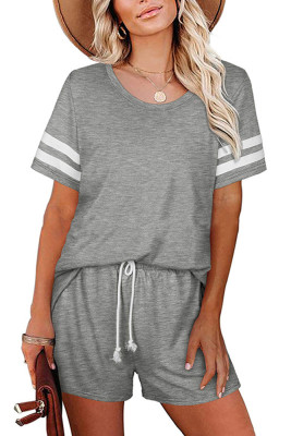 Gray Striped Short Sleeve Top Short Set