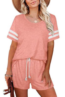 Pink Striped Short Sleeve Top Short Set