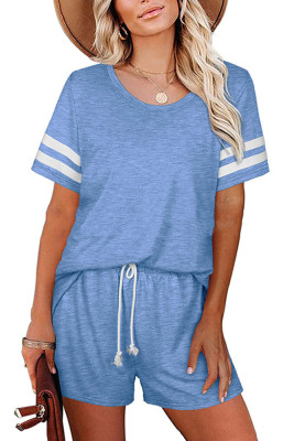 Blue Striped Short Sleeve Top Short Set