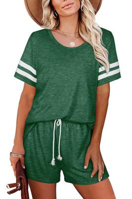 Green Striped Short Sleeve Top Short Set