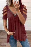Wine Red Zipper V-Neck Hollow Out Short Sleeve Top