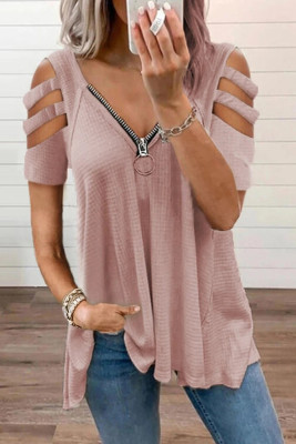 Pink Zipper V-Neck Hollow Out Short Sleeve Top