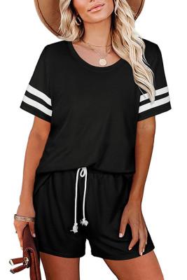 Black Striped Short Sleeve Top Short Set