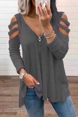 Dark Gray Zipper V-Neck Hollow Out Long Sleeve Top