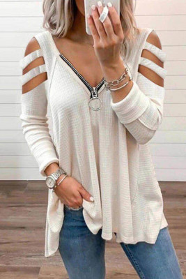 White Zipper V-Neck Hollow Out Long Sleeve Top