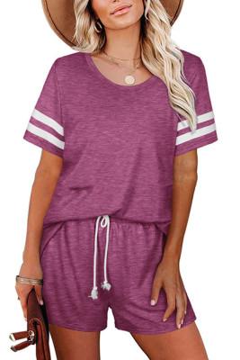 Purple Striped Short Sleeve Top Short Set