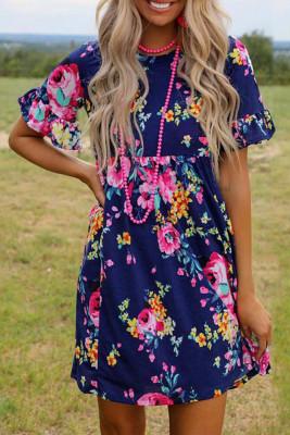 Blue Floral O-Neck Ruffle Sleeve Mini Dress