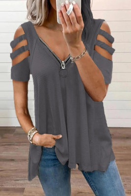 Gray Zipper V-Neck Hollow Out Short Sleeve Top