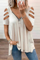 White Zipper V-Neck Hollow Out Short Sleeve Top