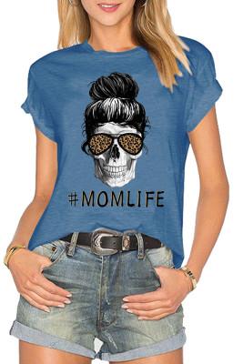 Blue MOM LIFE Printed Short Sleeve Tee