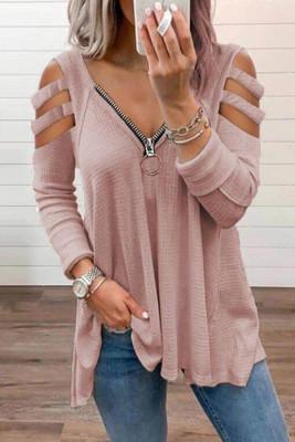 Pink Zipper V-Neck Hollow Out Long Sleeve Top
