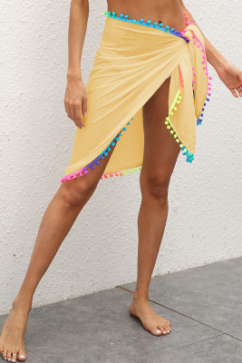 Yellow Wrap Lace Beach Mini Skirt  with Tassels