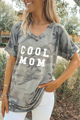 Camouflage COOL MOM Printed V-Neck Short Sleeve Top
