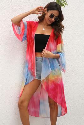 Tie-dye Print Beach Sunscreen Blouse Kimono