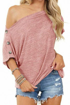 Pink Off-the-shoulder Buttons Short Sleeve Top