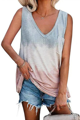 Gray Color Block V-Neck Tank Top