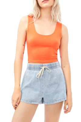 Blue Drawstring Elastic Waist Denim Shorts