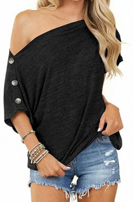 Blck Off-the-shoulder Buttons Short Sleeve Top