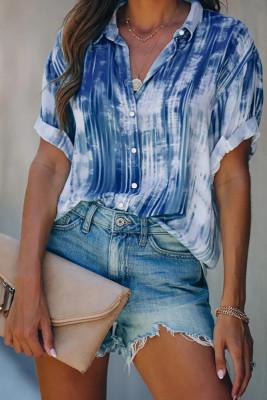 Blue Tie-dye Printed Short Sleeve Shirt