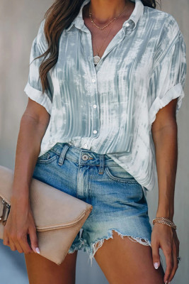 Gray Tie-dye Printed Short Sleeve Shirt