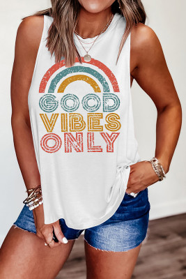GOOD VIBES  ONLY Printed Vest Tank Top