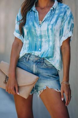 Light Blue Tie-dye Printed Short Sleeve Shirt