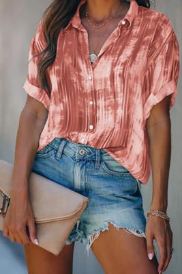 Wine Red Tie-dye Printed Short Sleeve Shirt