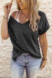 Dark Gray V-neck Short Sleeve Top