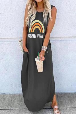 Black Printed O-neck Sleeveless Dresses