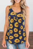 Navy Sunflower Printed Loose Vest Tank Top