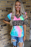 Leopard Printed Splicing V-Neck Short Sleeve Top