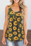 Army Green Sunflower Printed Loose Vest Tank Top