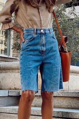 Blue Tassel High Waist  Above-knee Length Jeans