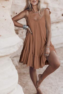 Brown Backless Loose Slip  Dresses