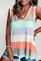 Contrast Stripe V-neck  Loose Vest Tank Top
