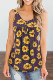 Purple Sunflower Printed Loose Vest Tank Top