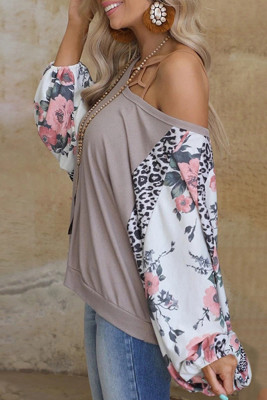 Floral Printed Stitching O-neck Sexy Long Sleeve Top