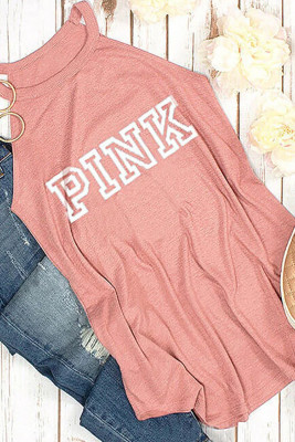 Pink Letter Printed Halter Tank Top