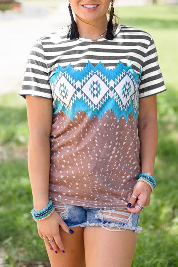 Printed Stitching O-neck Short Sleeve Top