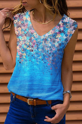 Light Blue V-Neck Printed Tank Top