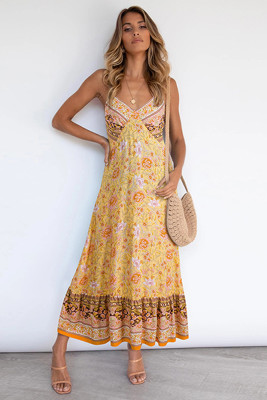 Yellow Bohemia Strap Floral Dress