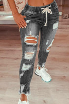 Gray Drawstring Ripped Jeans