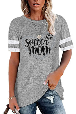 Gray Letter Printed Round Collar Short Sleeve Top