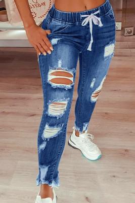 Black Drawstring Ripped Jeans