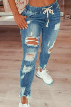 Light Blue Drawstring Ripped Jeans
